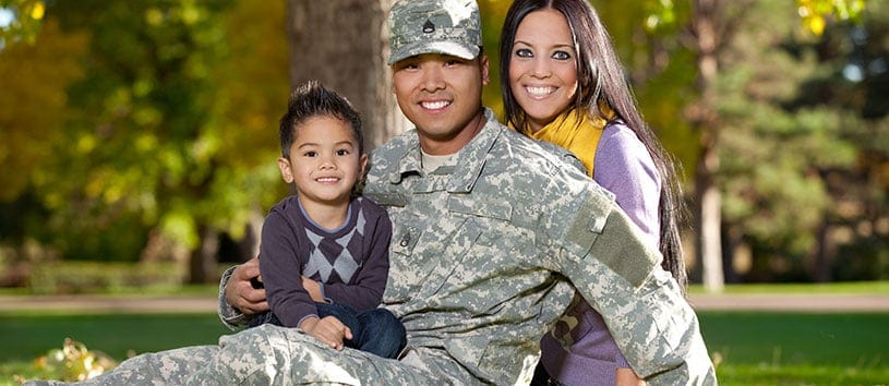 Military family at the park